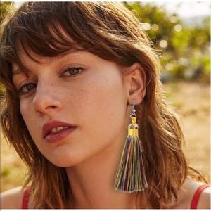 Nip bohemian Multi colored  tassel fringe earrings